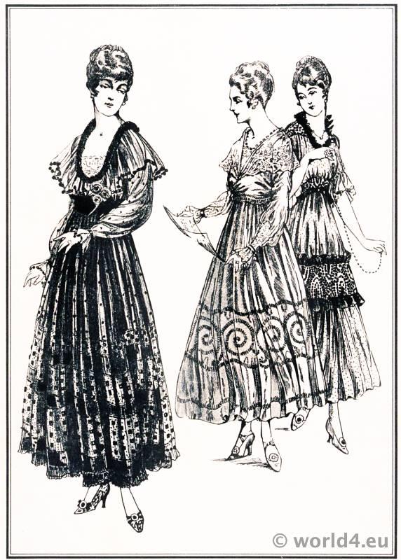 Diner Dresses. Le style parisien. Art deco fashion magazine. French parisiennes collection haute couture