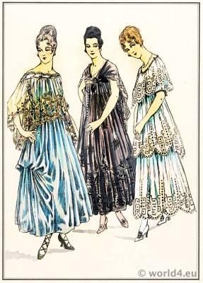 House Gowns - Robes de Maison. Le style parisien. Art deco fashion magazine. French parisiennes collection haute couture