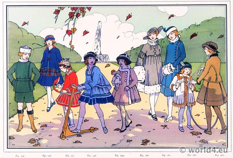 Children's Costumes. Le style parisien. Art deco fashion magazine. French parisiennes collection haute couture.