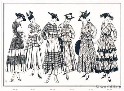 Scottish gowns. Le style parisien. Art deco fashion magazine. French parisiennes collection haute couture.