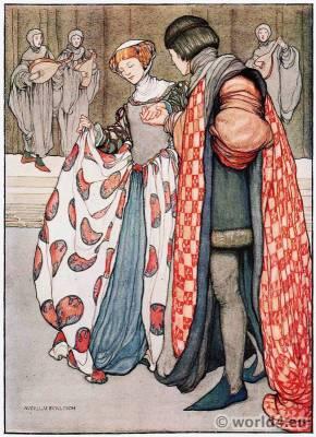 Averil Mary Burleigh, British, Artist, Burgundy, Medieval, costumes