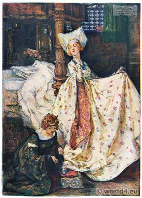 Mary Young Hunter. Courtly fantasy high dame court costume. Middle Ages fashion