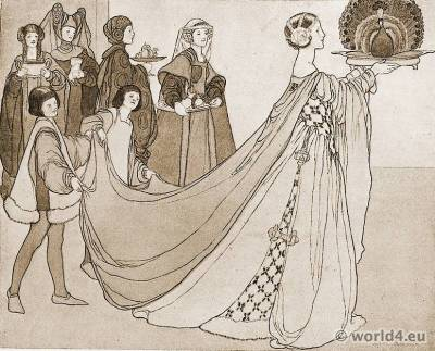 The Peacock Festival. Burgundy medieval costumes. Averil Mary Burleigh. British artist. Gothic fashion
