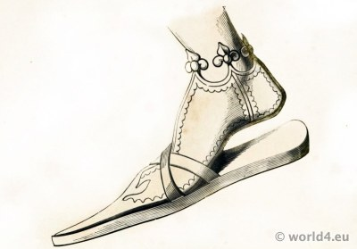 14th century medieval pointed toe shoe style. Shoe of German Emperor Frederick III.