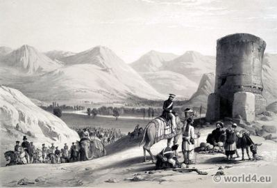 First Afghan War. Valley of Maidan. James Atkinson. Afghan folk dresses. Traditional Afghanistan National Costumes.