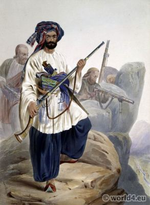 Cohistaun Foot Soldiery. Summer Costume. Afghan folk dresses. Traditional Afghanistan National Costumes.
