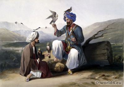 Falconry Costumes Kohestan, Kapisa, Afghanistan. Traditional Afghanistan National Costumes. Illustrations James Rattray.