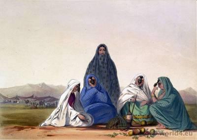 Asia Pashtun dress. Ghilji, Ghilzay women costumes. Traditional Afghanistan National Costumes. Illustrations James Rattray.