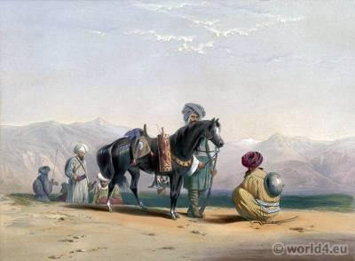Jaunbauz, Afghan cavalry military dresses. Traditional Afghanistan National Costumes.