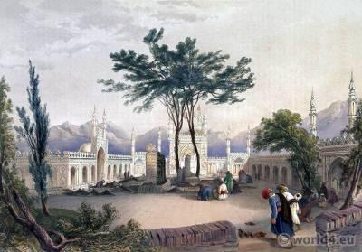 Mosque Ghulam Husayn Hazratji. Traditional Afghanistan National Costumes.