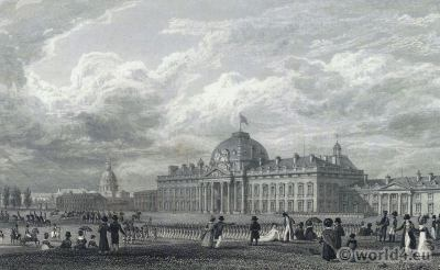 Champ de Mars. École militaire. French Revolution History. Costumes directoire