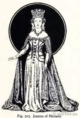 Johanna of Navarre. Medieval Costumes 15th century. Fashion Burgundy court dresses. Hennin. Headdresses