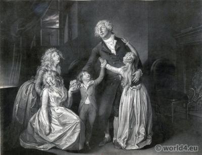 Louis XVI . Madame Élisabeth. Marie Antoinette, Louis XVIII, Princess Royal. French Revolution History costumes.