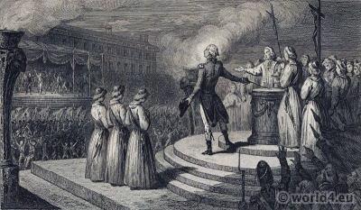 The Fête de la Fédération. French Revolution History. 18th century costumes