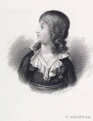 Dauphin de France. Louis XVII. Charles de Bourbon. French Revolution History. King Portrait. 18th century costumes