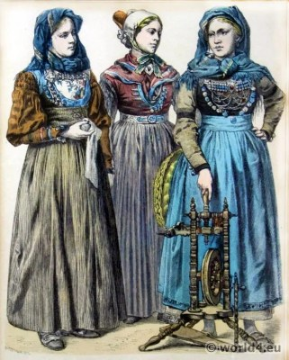 Münchner Bilderbogen. Friesland Folk dresses from Foehr, Romoe, Wyk. Traditional Netherland national costumes
