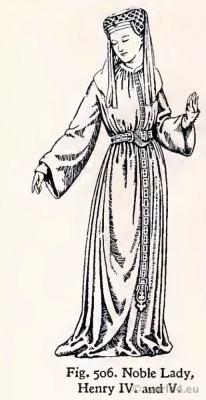 Gothic Medieval costume 15th century. Noble Lady Fashion Burgundy court dress. Hennin. Headdresses