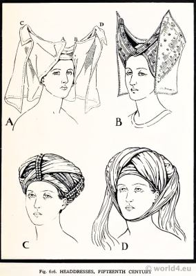 Medieval Gothic Headdresses 15th century. Burgundy Fashion. Court dresses. Hennin.