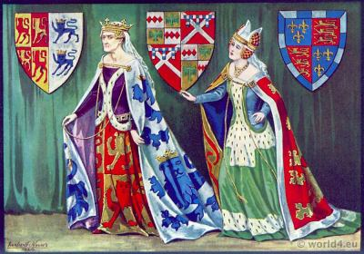 Margaret Princess of Wales. Medieval Gothic costumes 15th century. Fashion Burgundy court dresses. Hennin. Headdresses