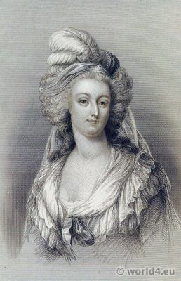 Portrait Queen Marie Antoinette. French Fashion History. Rococo Hairstyle, costume.