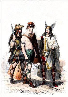 Merovingian Warrior. Costume 5th century. Chief gaulois.