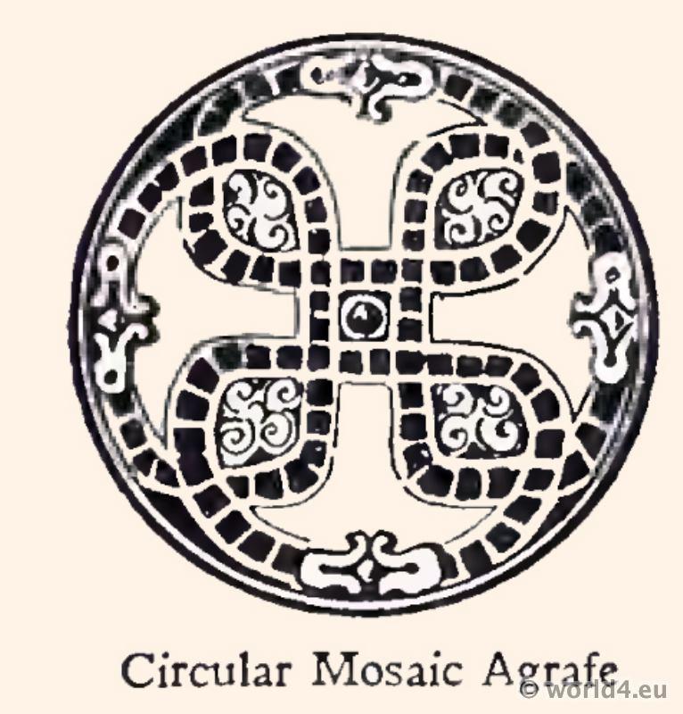 Merovingian Circular Mosaic Agrafe. Frankish jewelry. 4th century fashion