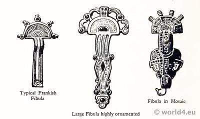 Merovingian Circular Fibula. Frankish jewelry. Fibula, Mosaik.