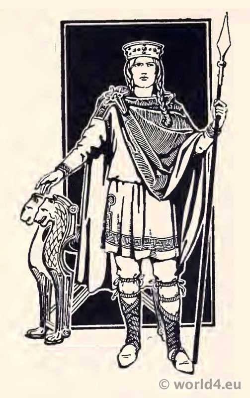 Costume Merovingian King of the Salian Franks. Clodian of the Long Hair. Merovingian dynasty.