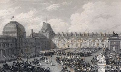 Palais des Tuileries. Royal and imperial palace in Paris 18th century. French Revolution History.