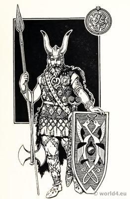 Original Viking Costume of the Varangian Guard. Viking Chiefs armor and weapons. 5th Century.