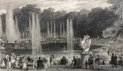 The Grand Waterworks Versailles. Royal château. Louis XIV palace. France.