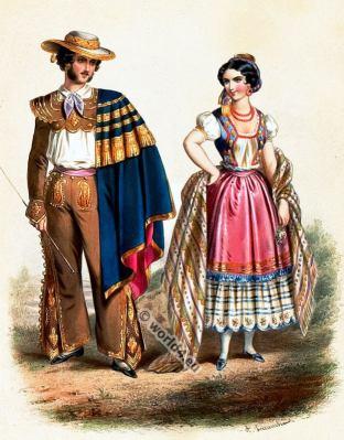 Costumes Mexicains. Alexandre Lacauchie. Les nations. Album des Costumes De Tous les Pays.