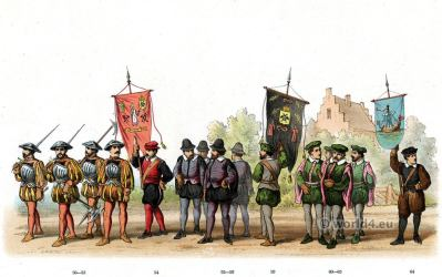 Masters of the Guild of St. Eloy. Emperor Charles V. Renaissance fashion period. 16th century military uniforms.