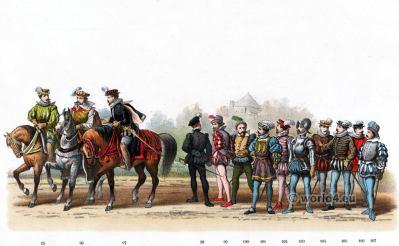 Dutch Lords costumes. Emperor Charles V. Renaissance fashion period. 16th century military uniforms.