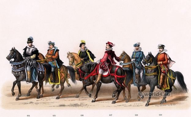 Knighthood costumes. Emperor Charles V. Renaissance fashion period. 16th century military uniforms.