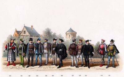 Renaissance costumes of nobles and citizen. Emperor Charles V. 16th century military uniforms. Dutch Guelderian Wars.