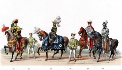 Ferdinand II Archduke of Further Austria. Emperor Charles V. Renaissance fashion period. 16th century military uniforms. Dutch War.