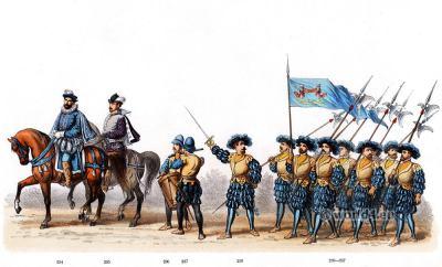 German Lance soldiers. Emperor Charles V. Renaissance fashion period. 16th century military uniforms. Dutch War.