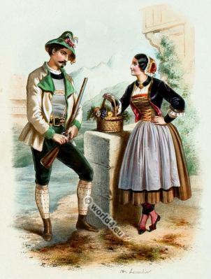 Costumes Tyroliens. Alexandre Lacauchie. Les nations. Album des Costumes De Tous les Pays.