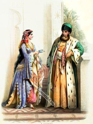 Traditional Armenian costumes. Armenia national folk costume.