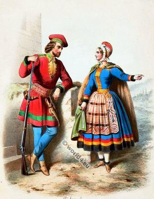 Traditional Norway costumes. Norwegian national folk costume.