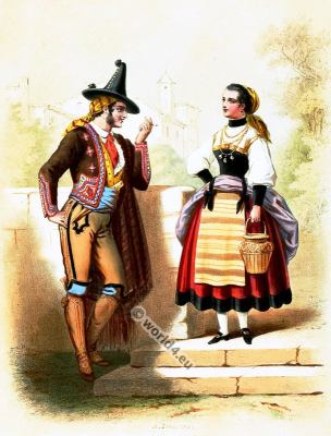 Traditional Portugal costumes. Portugese national folk costume.