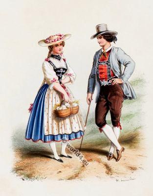 Traditional Switzerland costumes. Suiss national folk costume.
