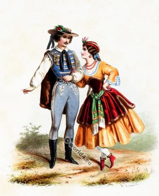 Traditional Hungary costumes. Hungarian national folk costume.