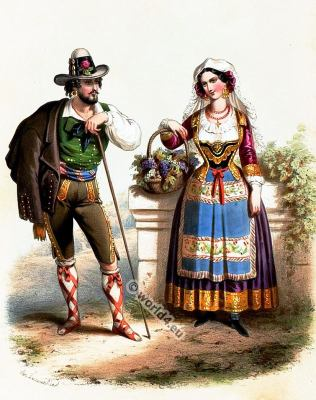 Traditional Romania costumes. Romanian national folk costume.