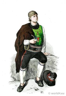 Traditional Austria national costume. Merano, South Tyrol farmer folk dress. Franz Lipperheide