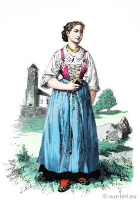 Meran, South Tyrol Peasant girl dress. Traditional Austria national costume. Franz Lipperheide