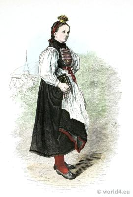 Traditional Tyrolean Bridesmaid costume. Schäppelmeiggi. Traditional Austria national costume.