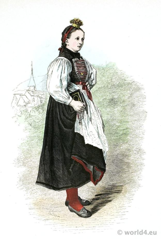 Traditional Austria Vorarlberg Bridesmaid costume. Franz Lipperheide