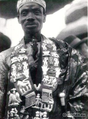 African Chief in ceromonial dress, Gold Coast.